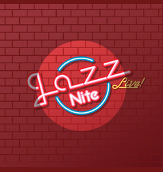 Neon sign jazz night vector