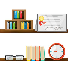 Nice office with desk and bookcase vector