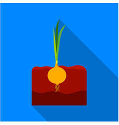 Onion icon flat single plant icon from the big vector