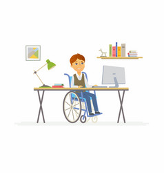 Online education - of disabled school vector