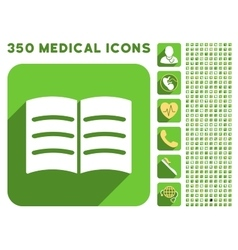 Open Book Icon and Medical Longshadow Icon Set vector