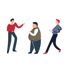 Overweight person going down street people mocking vector