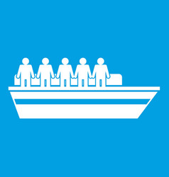 People on ship icon white vector