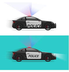 police car moving fast with siren flasher vector image