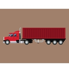 red truck trailer container delivery transport vector image