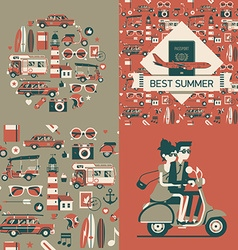 Retro Summer Wrapping Paper vector image