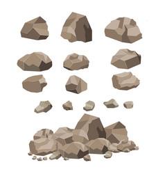 rock stone big set cartoon vector image