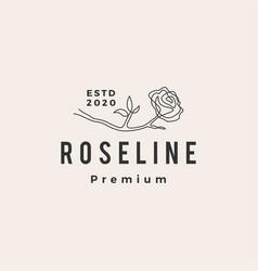 rose line hipster vintage logo icon vector image