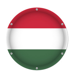 round metallic flag of hungary with screws vector image