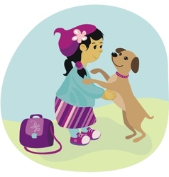 School Girl and Puppy vector image