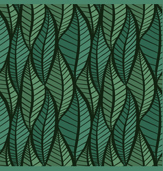 seamless green texture with stylized leaves vector image