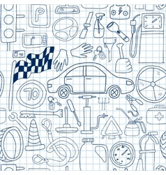 Seamless pattern with doodle icons for car and vector image