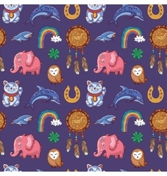 Seamless pattern with Good Luck charms vector image