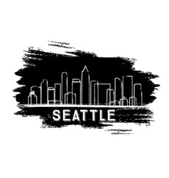 Seattle skyline silhouette hand drawn sketch vector