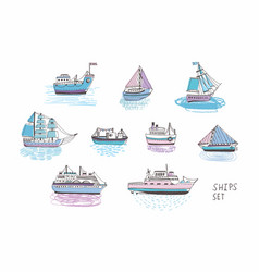 set of different isolated doodle ships yachts vector image