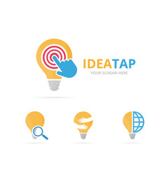 Set of lamp logo combination lightbulb and cursor vector