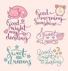 Set of night cute cartoon vector