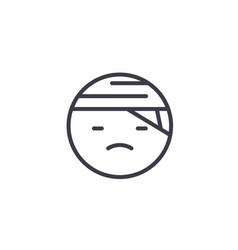 sick emoji concept line editable concept vector image