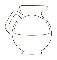Sketch contour glass jar of coffee with handle vector