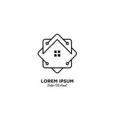 Smart home logo design with monoline style vector