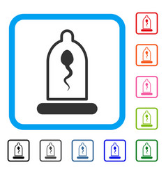 sperm in condom framed icon vector image vector image