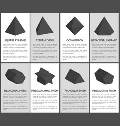 square pyramid and octahedron black prisms set vector image