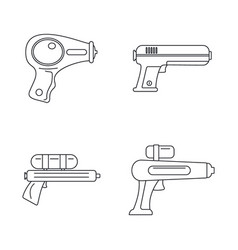 squirt gun water pistol icons set outline style vector image