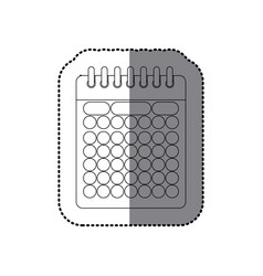 sticker monochrome contour of calendar with spiral vector image