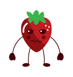 Strawberry serious fruit kawaii icon image vector