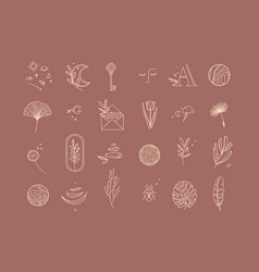 symbols flat light dark coral vector image