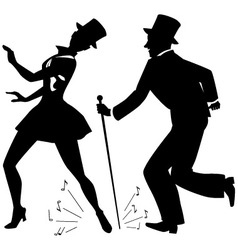 Tap dancers in top hats silhouette vector