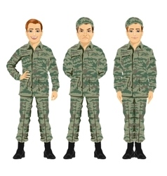 three army soldiers posing vector image
