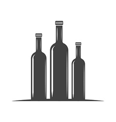 Three bottles for oil with screw cap Black icon vector