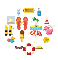 Travel icons set cartoon style vector