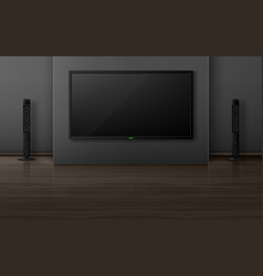 Tv set with dynamics in living room interior vector
