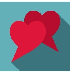 Two hearts icon flat style vector image