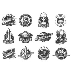 vintage monochrome space emblems set vector image