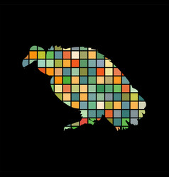 Vulture bird mosaic color silhouette animal vector