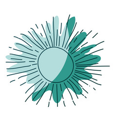 watercolor silhouette of sun on aquamarine and vector image