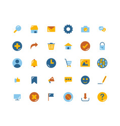 web interface flat icon set vector image