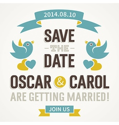 Wedding Invitation with cute birds vector image