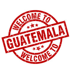 Welcome to guatemala red stamp vector