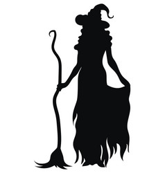 witch standing with a broom black silhouette a vector image