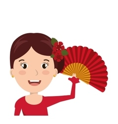 woman cartoon dancer flamenco design vector image