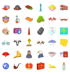 World travel icons set cartoon style vector