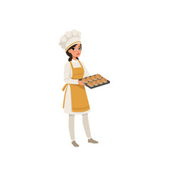 Young female baker character in uniform holding a vector