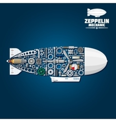 Zeppelin airship symbol with mechanical details vector image
