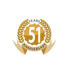 51 years ribbon anniversary vector image