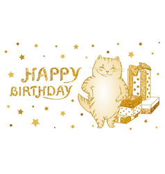 Greeting card and poster with golden cat with gift vector