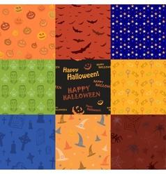 Nine Halloween texture pattern collection set vector image